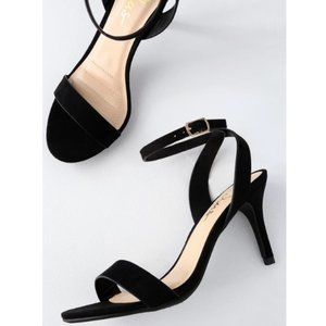 Lulu's Hunter Black Suede Ankle Strap Heels